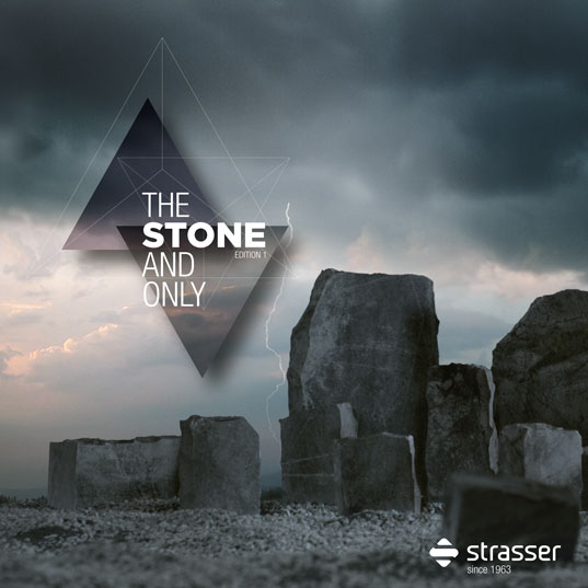 Titelseite einer Imagebroschüre für einen Hersteller von Steinplatten